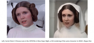 Carrie Fisher in Star Wars, A New Hope and then in CGI rendering in Rouge One